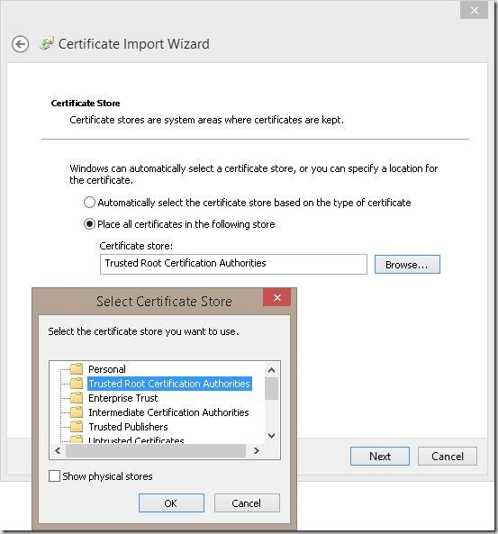 InstallCertificateStore