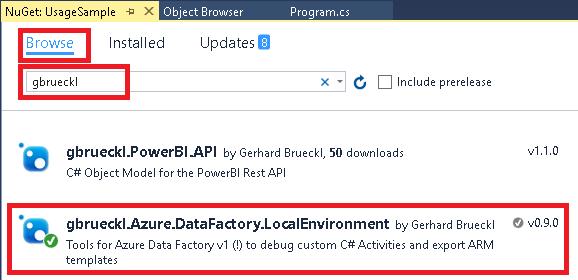 NuGet Gallery | gbrueckl Azure DataFactory LocalEnvironment
